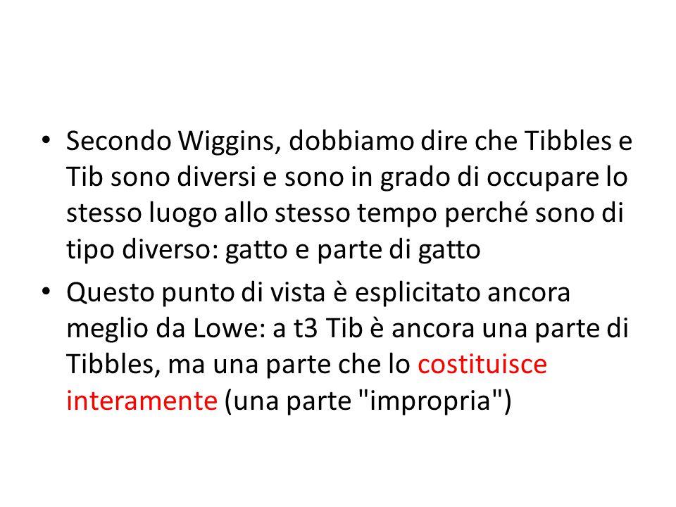 Secondo Wiggins, dobbiamo dire che Tibbles e Tib sono diversi e sono in grado di occupare lo stesso luogo allo stesso tempo perché sono di tipo diverso: gatto e parte di gatto