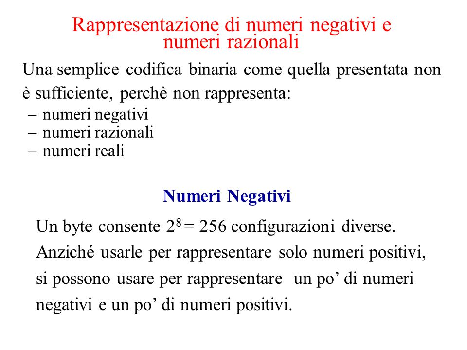 Rappresentazione di numeri negativi e numeri razionali