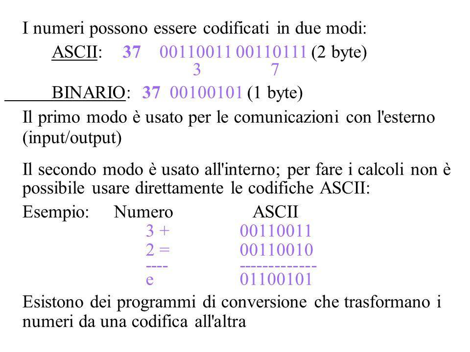 I numeri possono essere codificati in due modi: