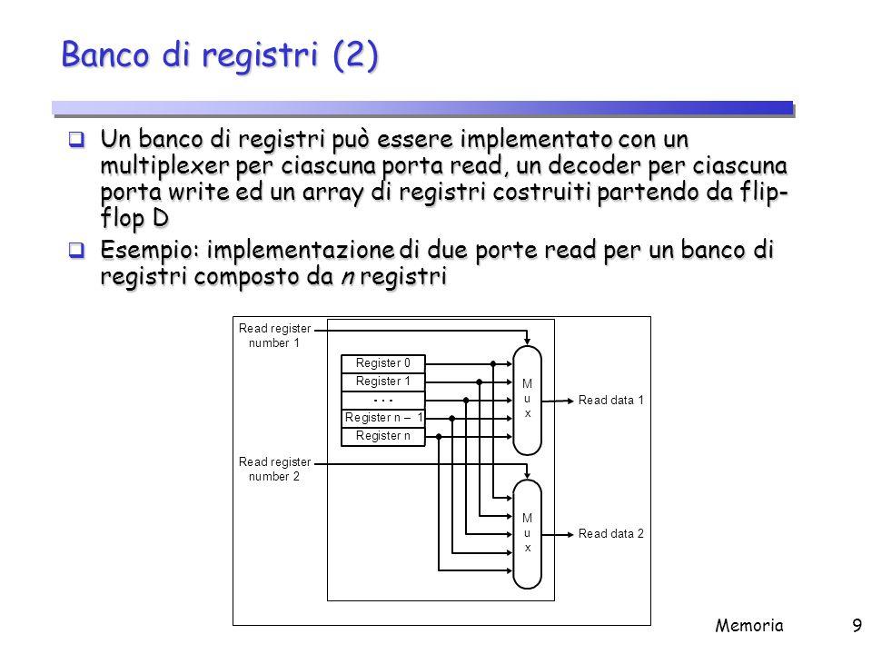 Banco di registri (3) Esempio: implementazione di una porta write per un banco di registri composto da n registri.