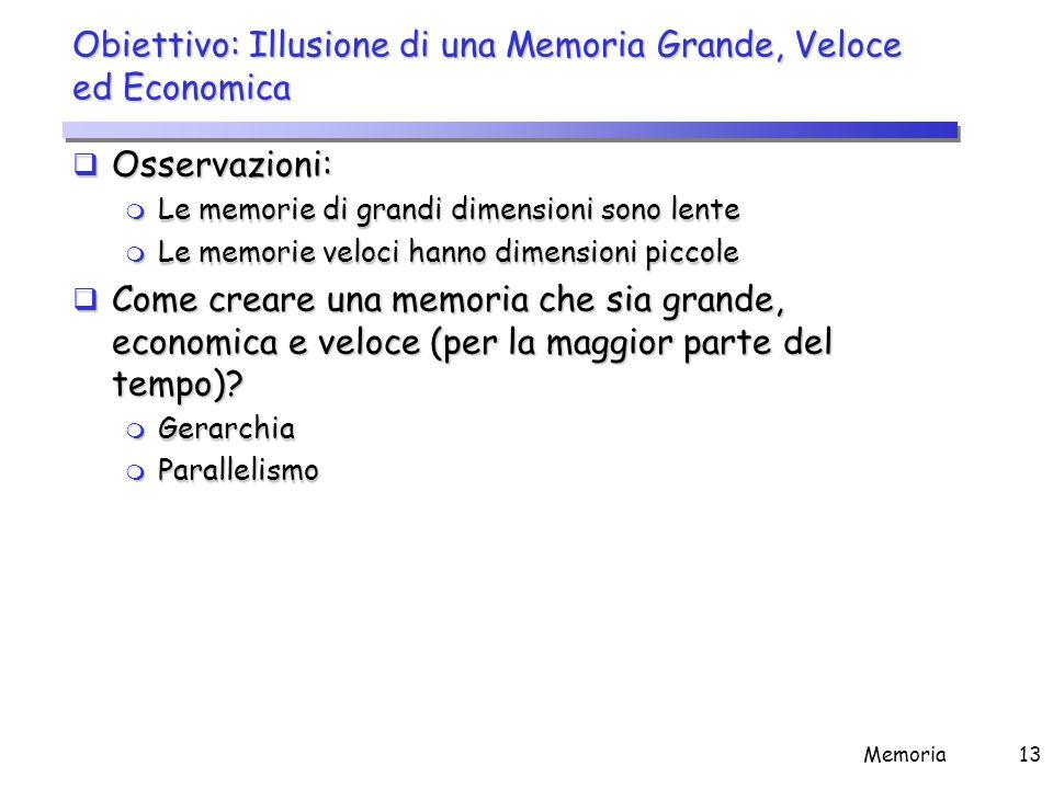 Gerarchia di memoria La memoria di un calcolatore è implementata come una gerarchia di memorie.