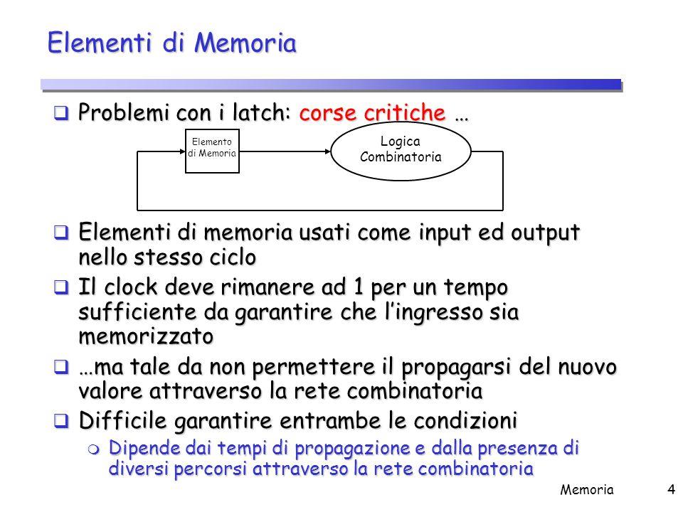 Elementi di Memoria Soluzione: Flip-Flops che cambiano lo stato (Q) solo sui fronti del segnale di clock (master-slave)