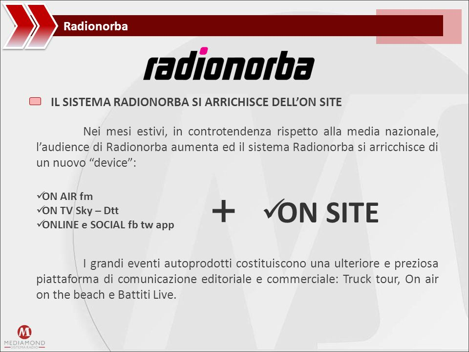 + ON SITE Radionorba IL SISTEMA RADIONORBA SI ARRICHISCE DELL'ON SITE