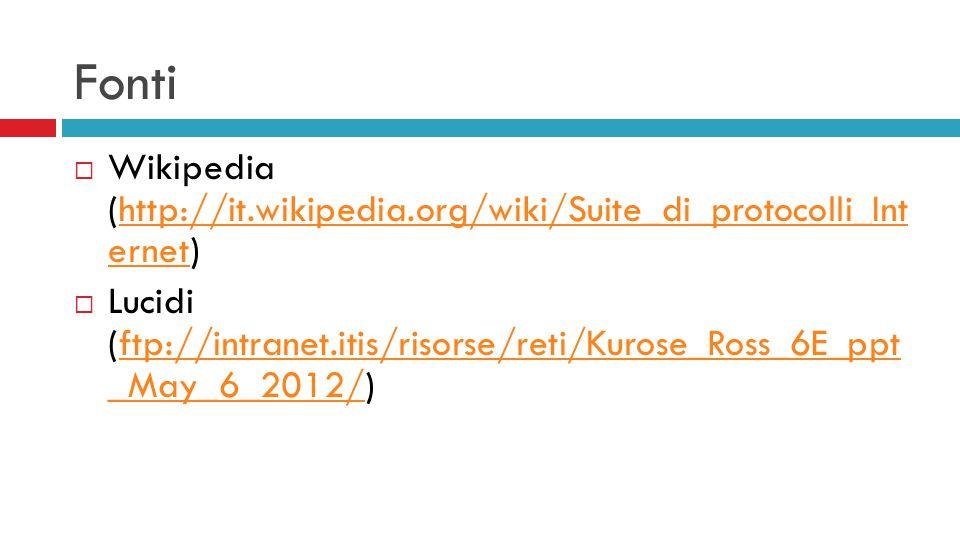 Fonti Wikipedia (http://it.wikipedia.org/wiki/Suite_di_protocolli_Int ernet)
