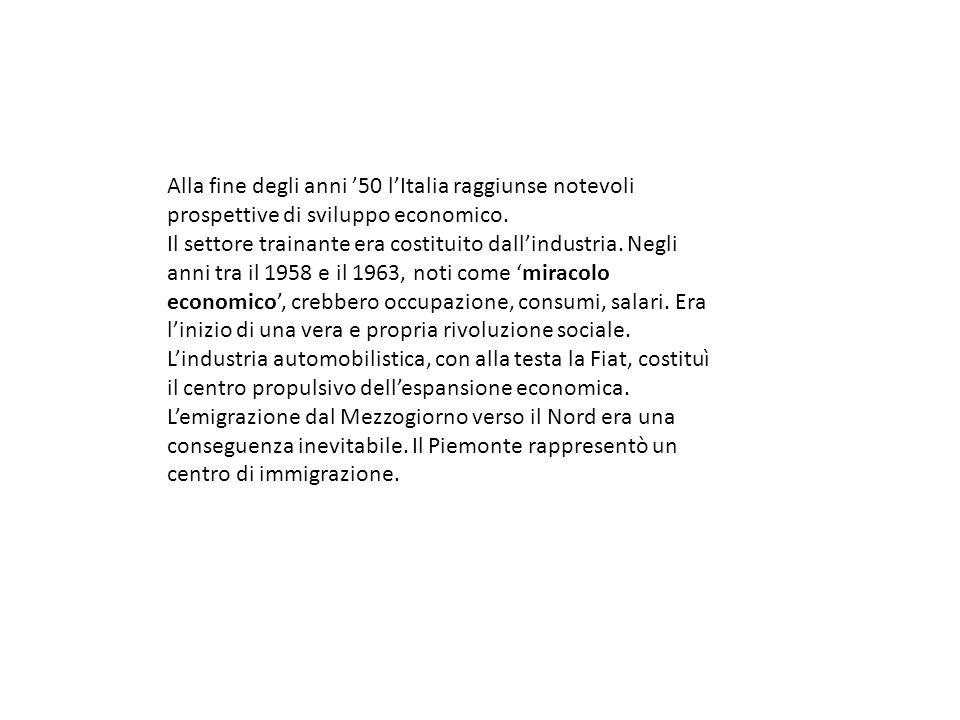 Alla fine degli anni '50 l'Italia raggiunse notevoli prospettive di sviluppo economico.