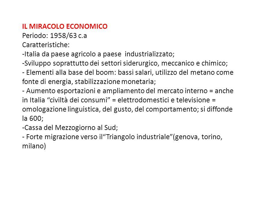 IL MIRACOLO ECONOMICO Periodo: 1958/63 c.a. Caratteristiche: -Italia da paese agricolo a paese industrializzato;