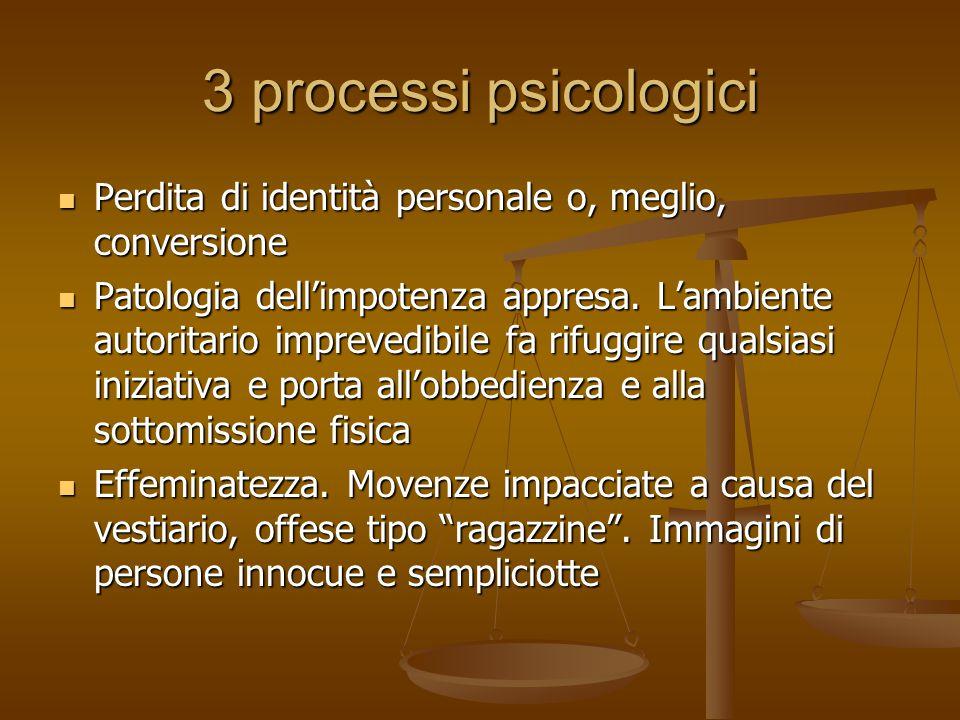 3 processi psicologici Perdita di identità personale o, meglio, conversione.