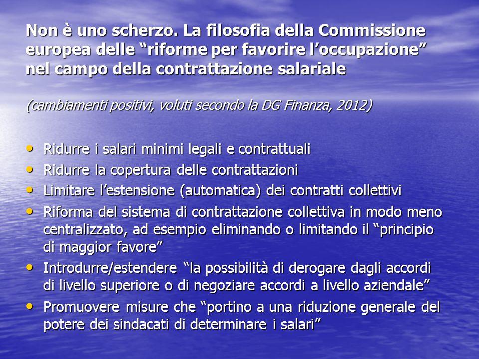 Non è uno scherzo. La filosofia della Commissione europea delle riforme per favorire l'occupazione nel campo della contrattazione salariale (cambiamenti positivi, voluti secondo la DG Finanza, 2012)