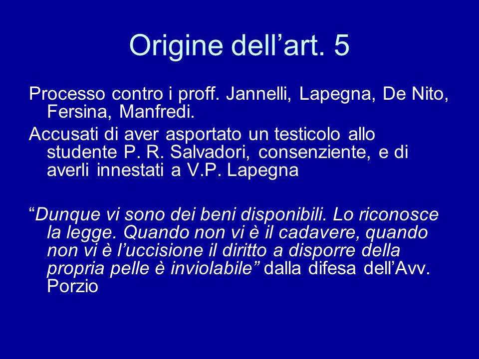 Origine dell'art. 5 Processo contro i proff. Jannelli, Lapegna, De Nito, Fersina, Manfredi.