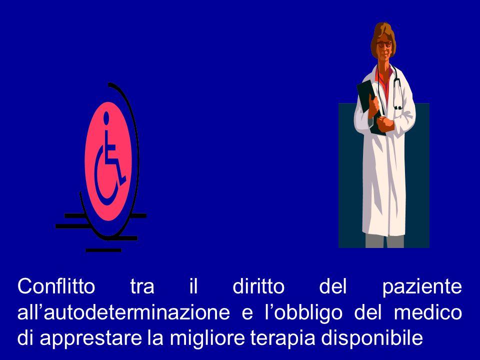 Conflitto tra il diritto del paziente all'autodeterminazione e l'obbligo del medico di apprestare la migliore terapia disponibile