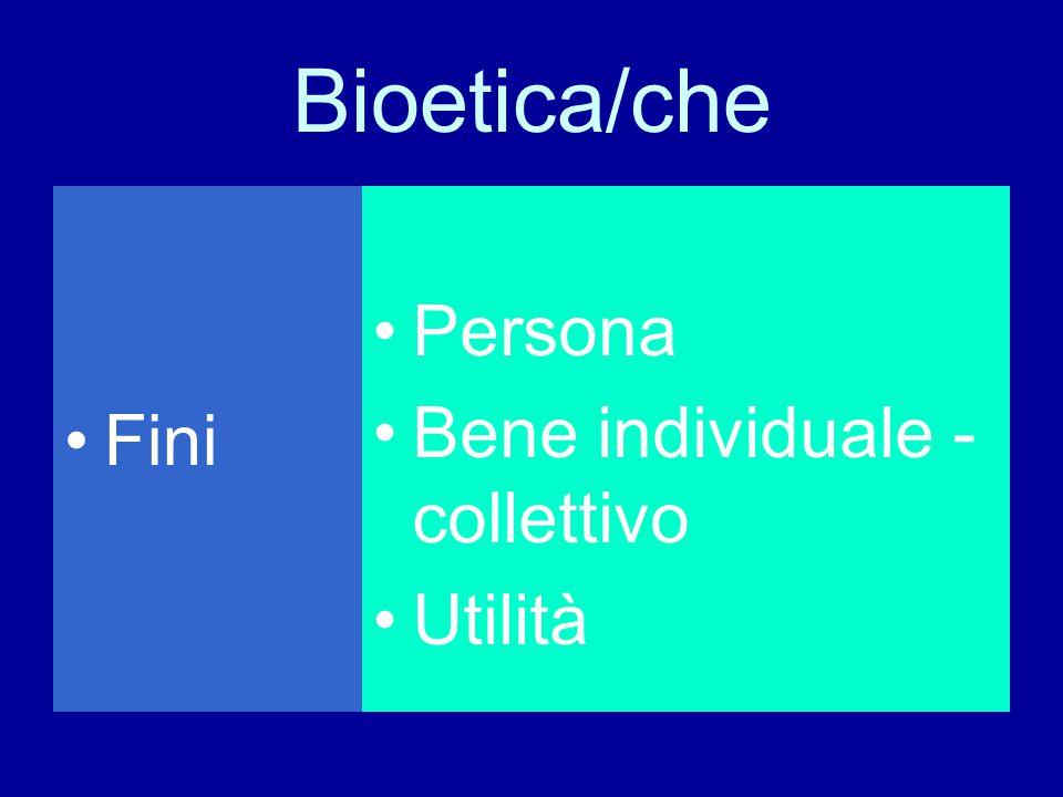 Bioetica/che Fini Persona Bene individuale -collettivo Utilità