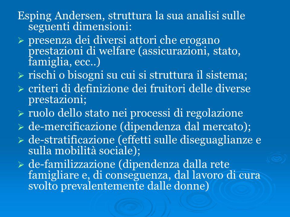 Esping Andersen, struttura la sua analisi sulle seguenti dimensioni: