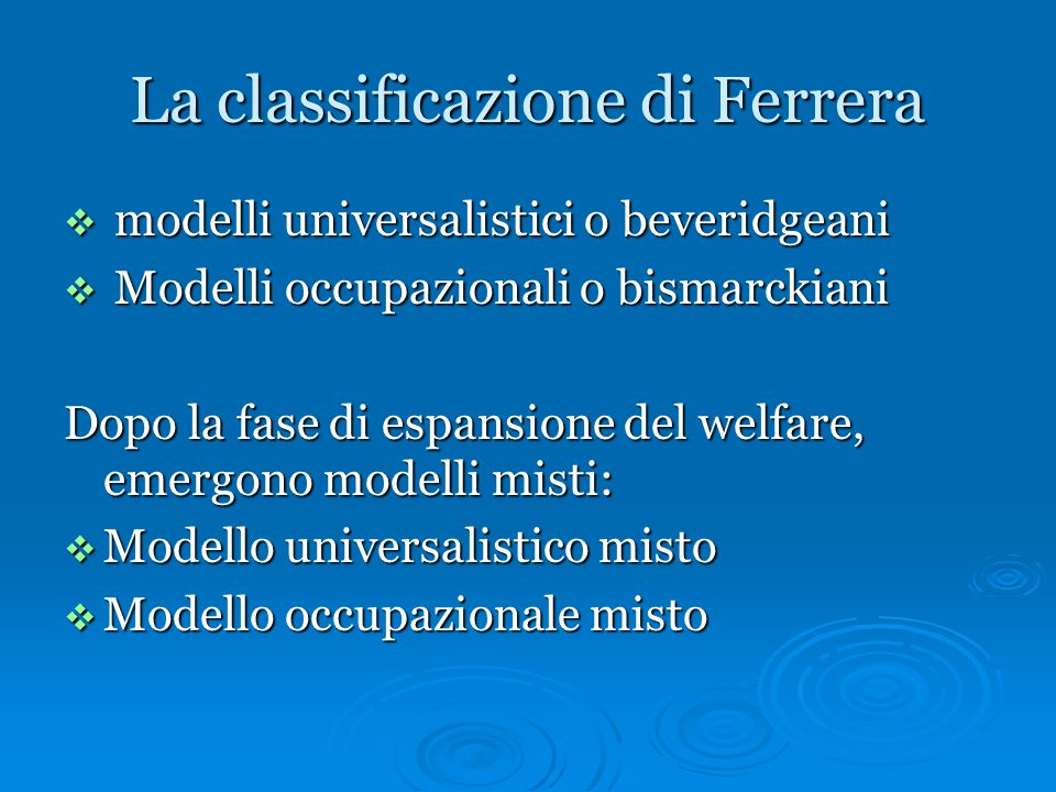 La classificazione di Ferrera