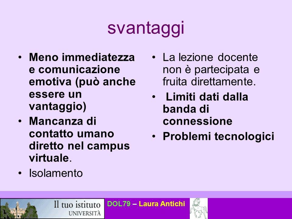 svantaggi Meno immediatezza e comunicazione emotiva (può anche essere un vantaggio) Mancanza di contatto umano diretto nel campus virtuale.