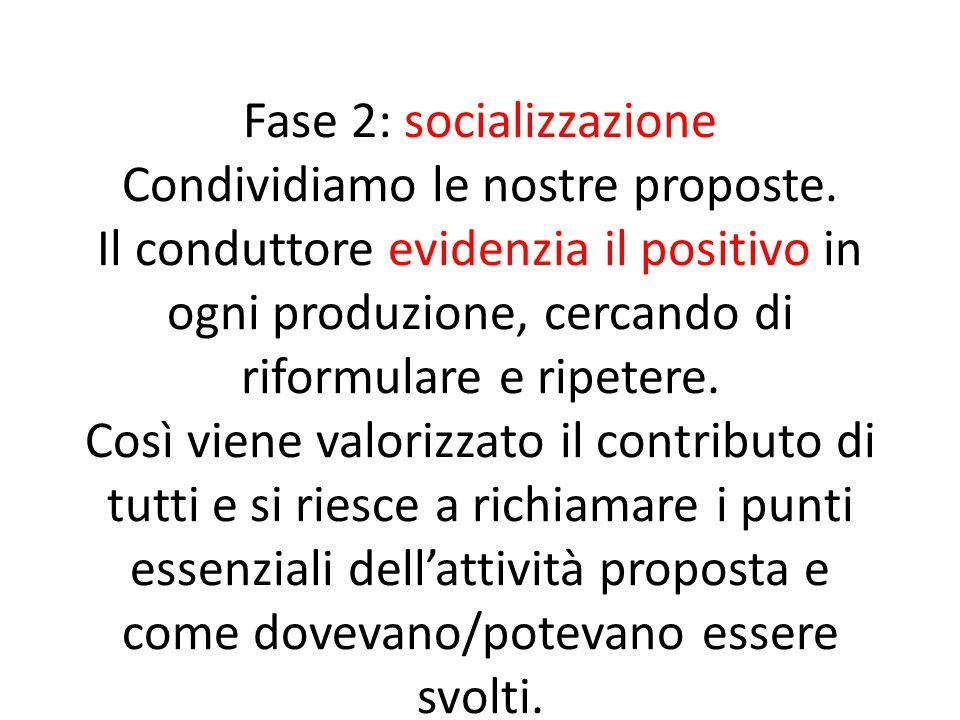 Fase 2: socializzazione Condividiamo le nostre proposte