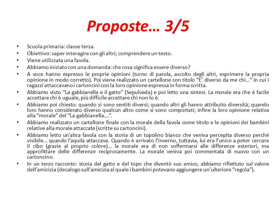 Proposte… 3/5 Scuola primaria: classe terza.