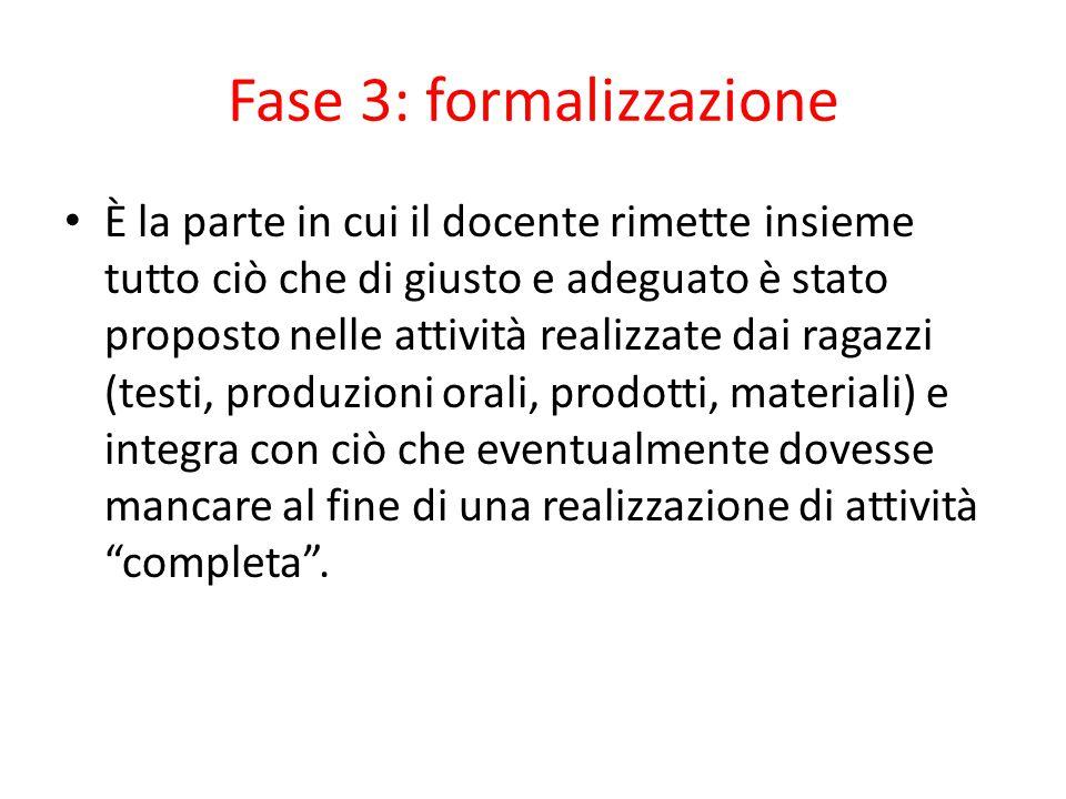 Fase 3: formalizzazione