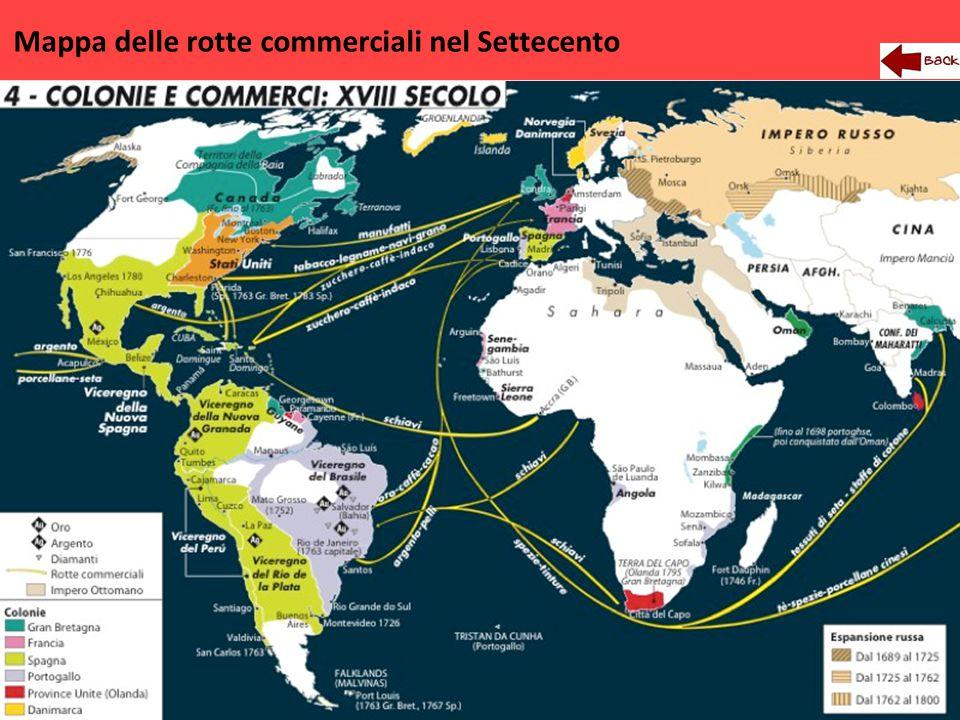 Mappa delle rotte commerciali nel Settecento