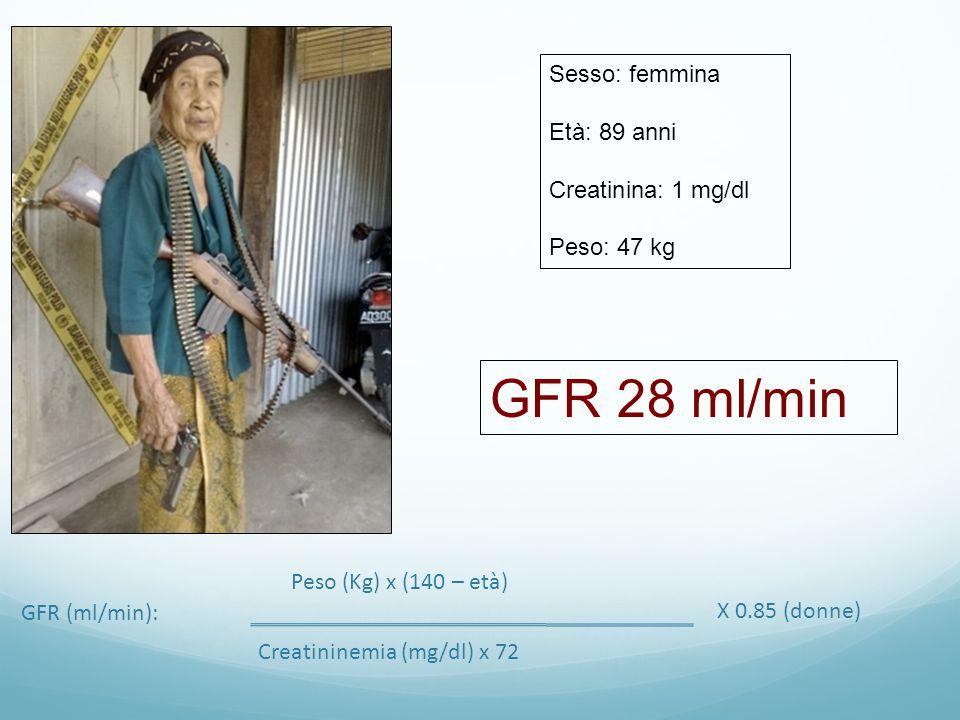 GFR 28 ml/min Sesso: femmina Età: 89 anni Creatinina: 1 mg/dl