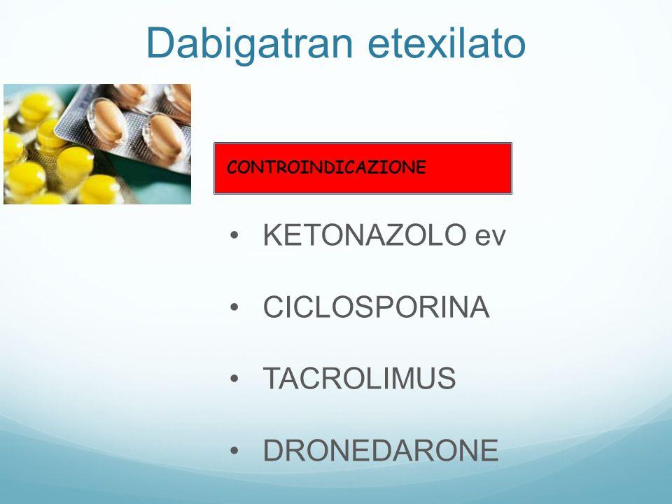 Dabigatran etexilato KETONAZOLO ev CICLOSPORINA TACROLIMUS DRONEDARONE