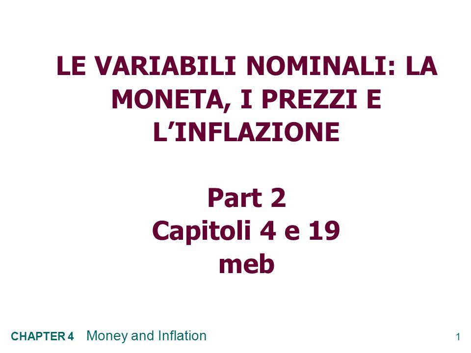 LE VARIABILI NOMINALI: LA MONETA, I PREZZI E L'INFLAZIONE