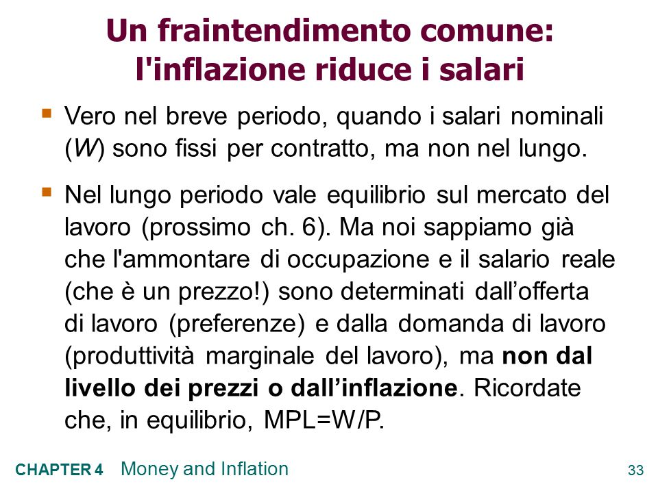 Un fraintendimento comune: l inflazione riduce i salari