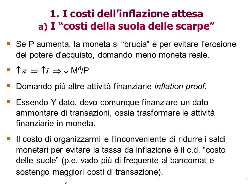 1. I costi dell'inflazione attesa a) I costi della suola delle scarpe