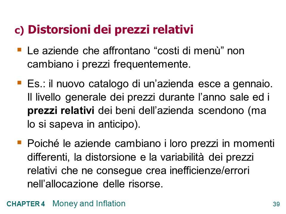 c) Distorsioni dei prezzi relativi