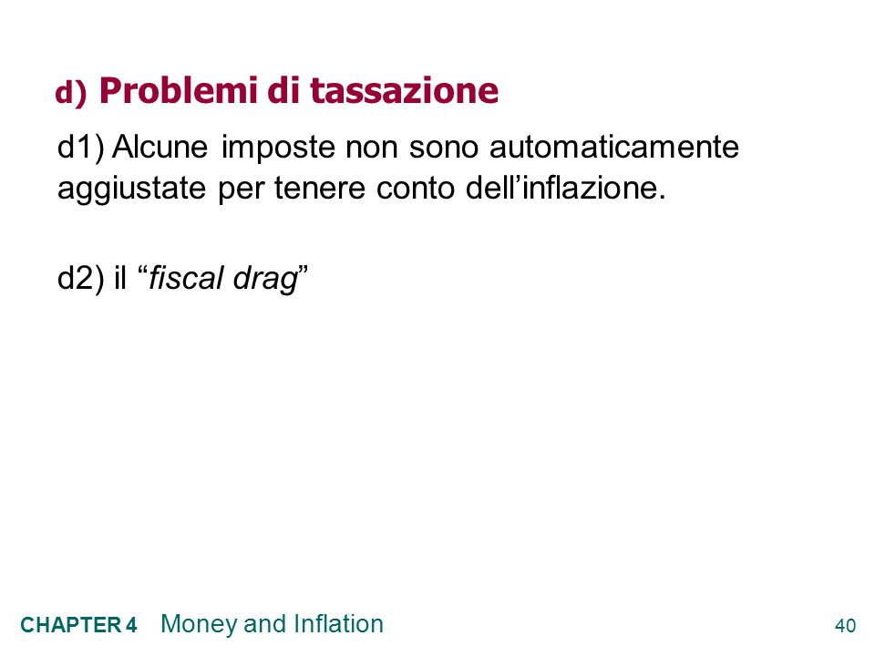 d) Problemi di tassazione