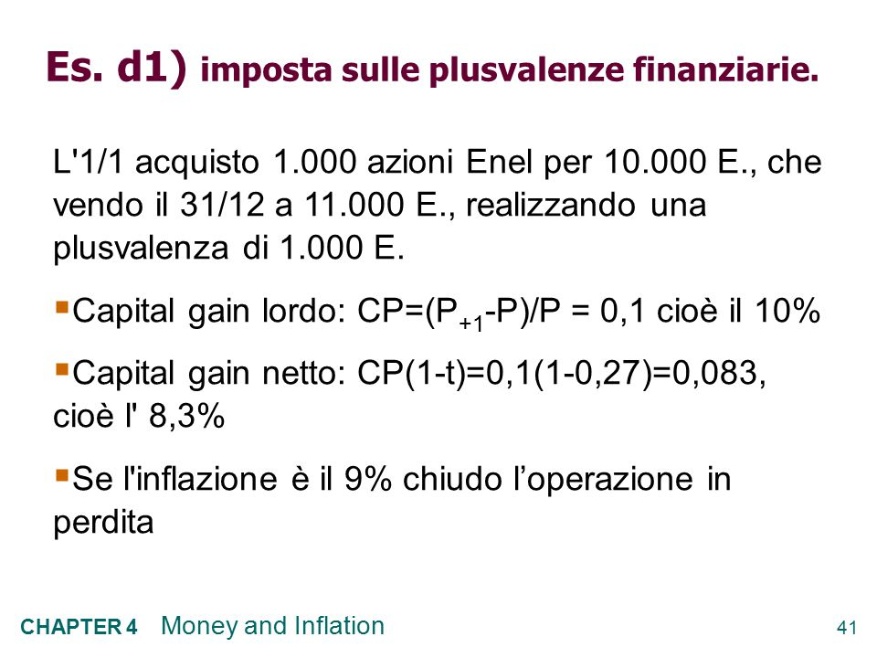 Es. d1) imposta sulle plusvalenze finanziarie.