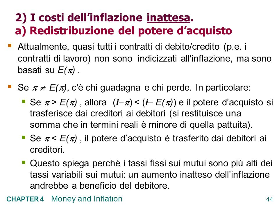 2) I costi dell'inflazione inattesa