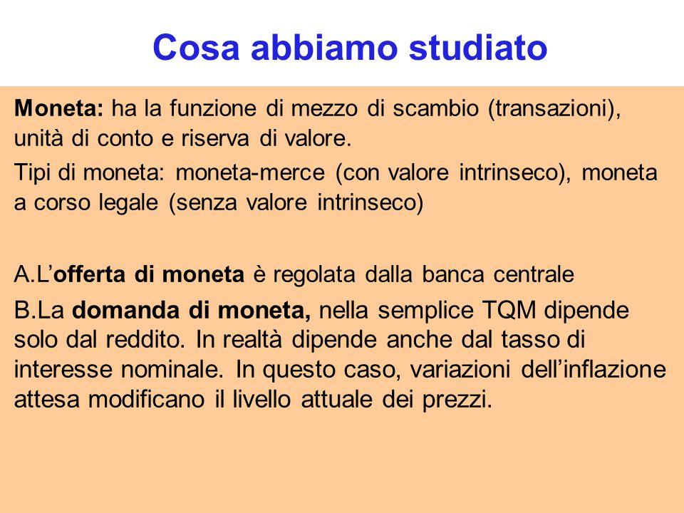 Cosa abbiamo studiato Moneta: ha la funzione di mezzo di scambio (transazioni), unità di conto e riserva di valore.
