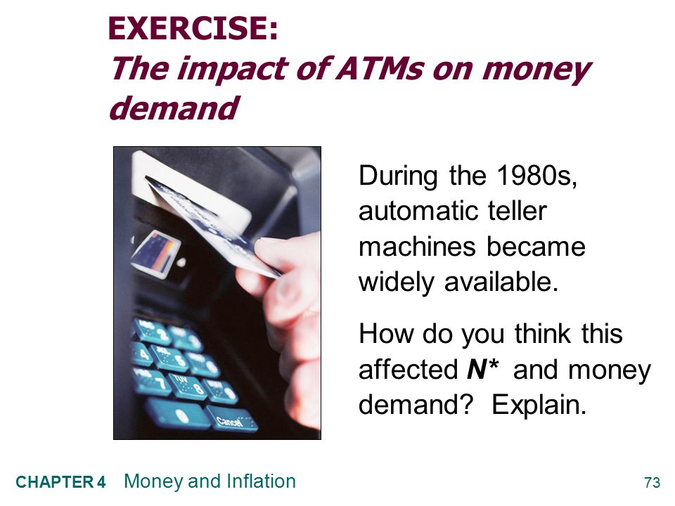 EXERCISE: The impact of ATMs on money demand