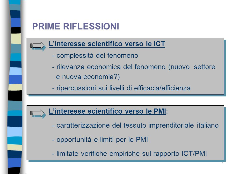 PRIME RIFLESSIONI L'interesse scientifico verso le ICT