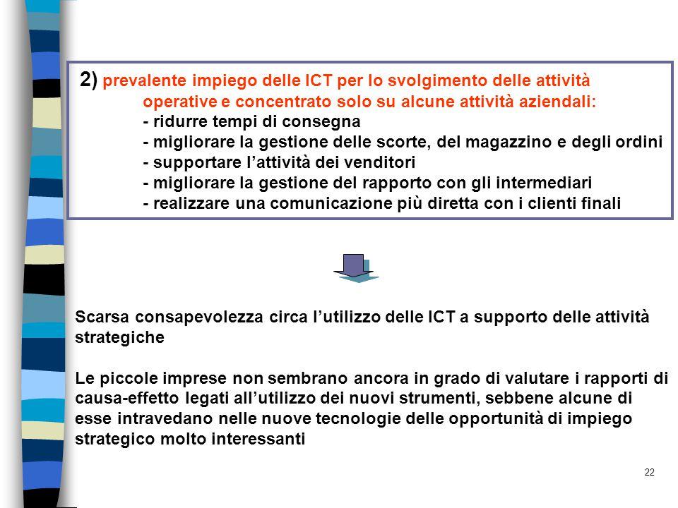 2) prevalente impiego delle ICT per lo svolgimento delle attività