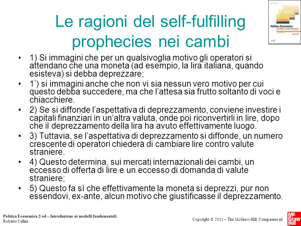 Le ragioni del self-fulfilling prophecies nei cambi