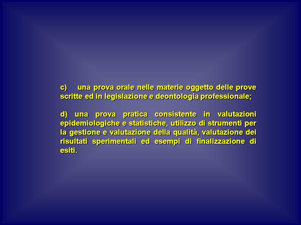 c) una prova orale nelle materie oggetto delle prove scritte ed in legislazione e deontologia professionale;