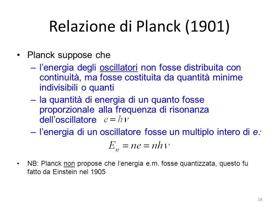 Relazione di Planck (1901) Planck suppose che
