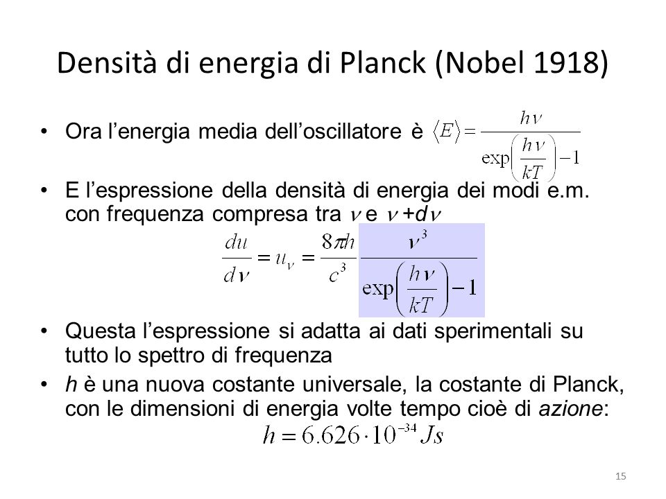 Densità di energia di Planck (Nobel 1918)