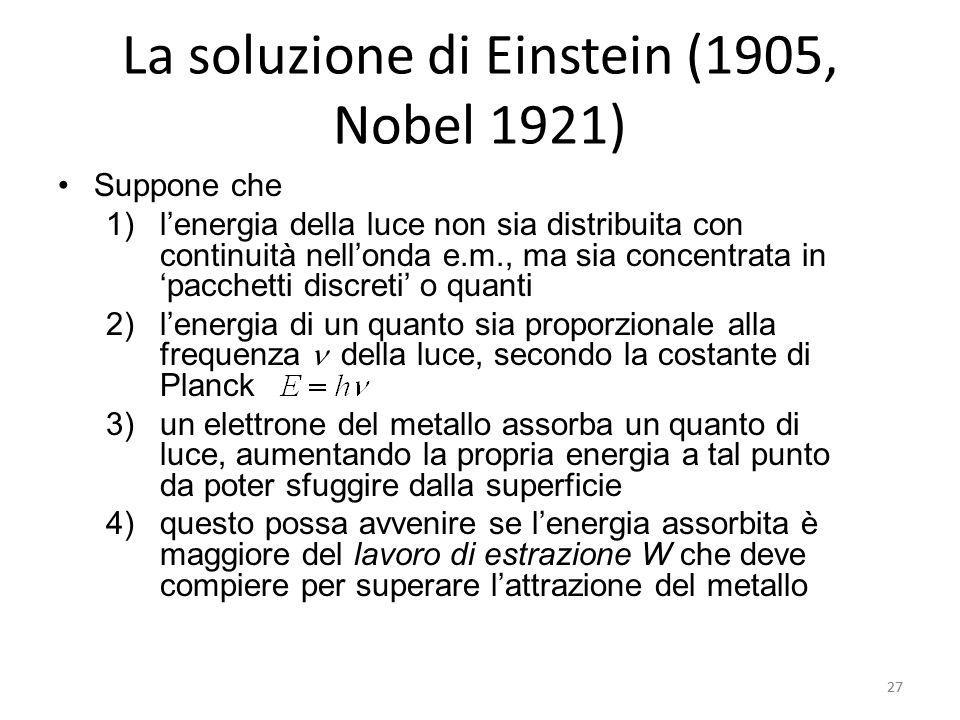 La soluzione di Einstein (1905, Nobel 1921)