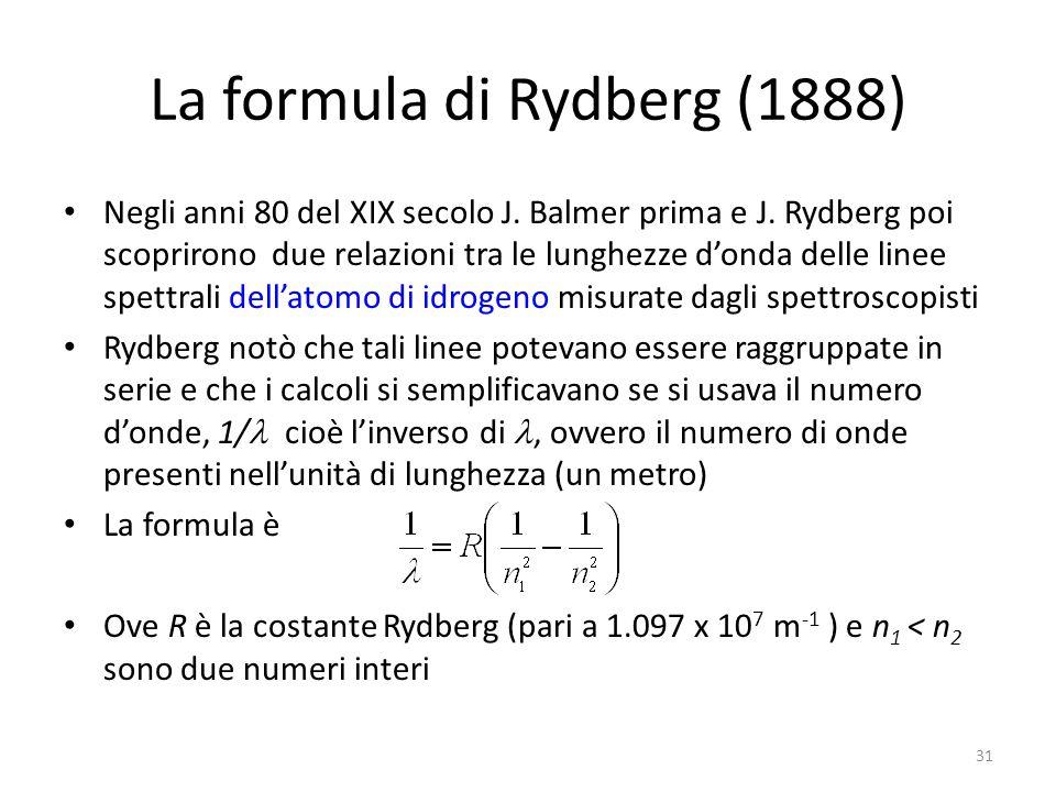 La formula di Rydberg (1888)