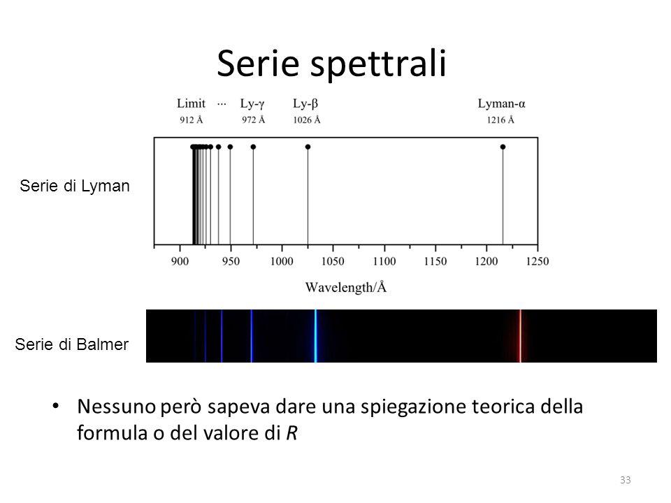 Serie spettrali Serie di Lyman. Serie di Balmer.