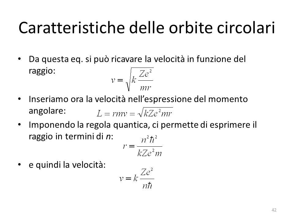 Caratteristiche delle orbite circolari