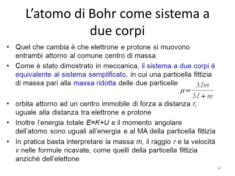 L'atomo di Bohr come sistema a due corpi