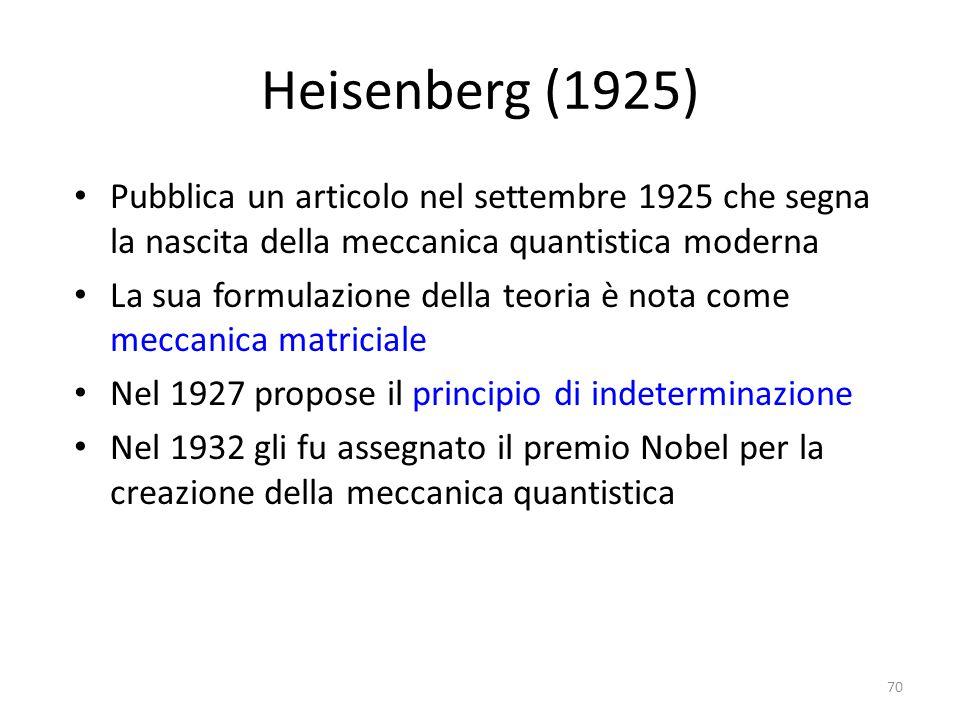 Heisenberg (1925) Pubblica un articolo nel settembre 1925 che segna la nascita della meccanica quantistica moderna.