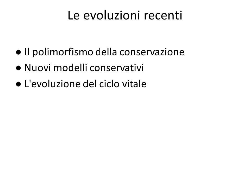 Le evoluzioni recenti ● Il polimorfismo della conservazione ● Nuovi modelli conservativi ● L evoluzione del ciclo vitale