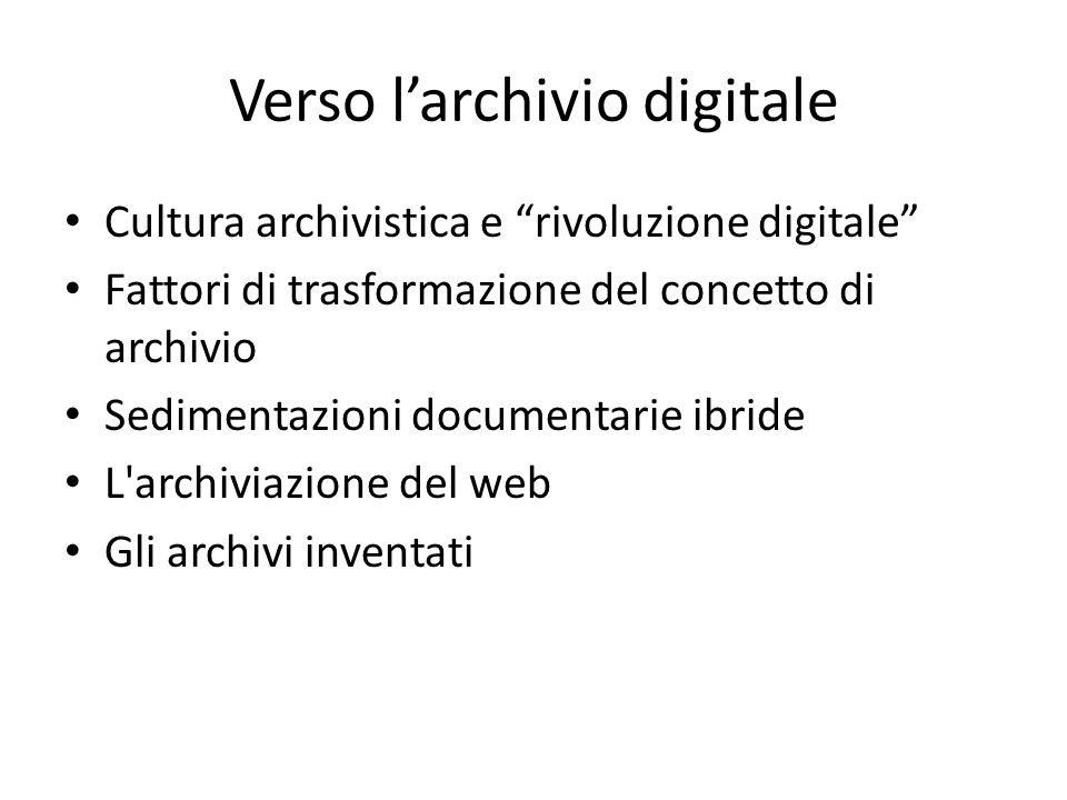 Verso l'archivio digitale