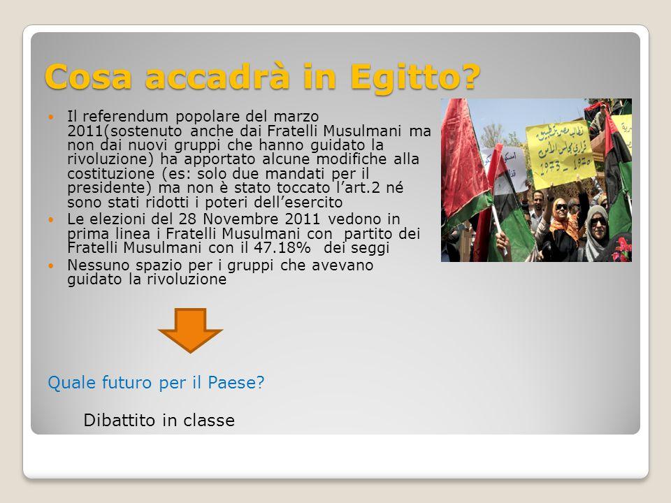Cosa accadrà in Egitto Quale futuro per il Paese Dibattito in classe