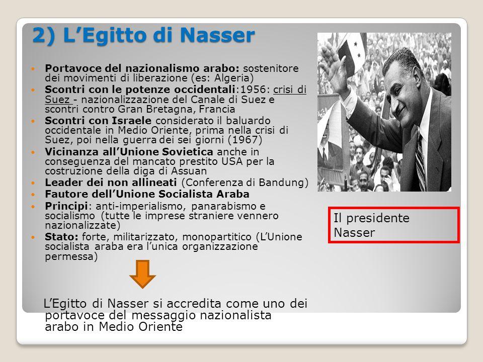 2) L'Egitto di Nasser Portavoce del nazionalismo arabo: sostenitore dei movimenti di liberazione (es: Algeria)