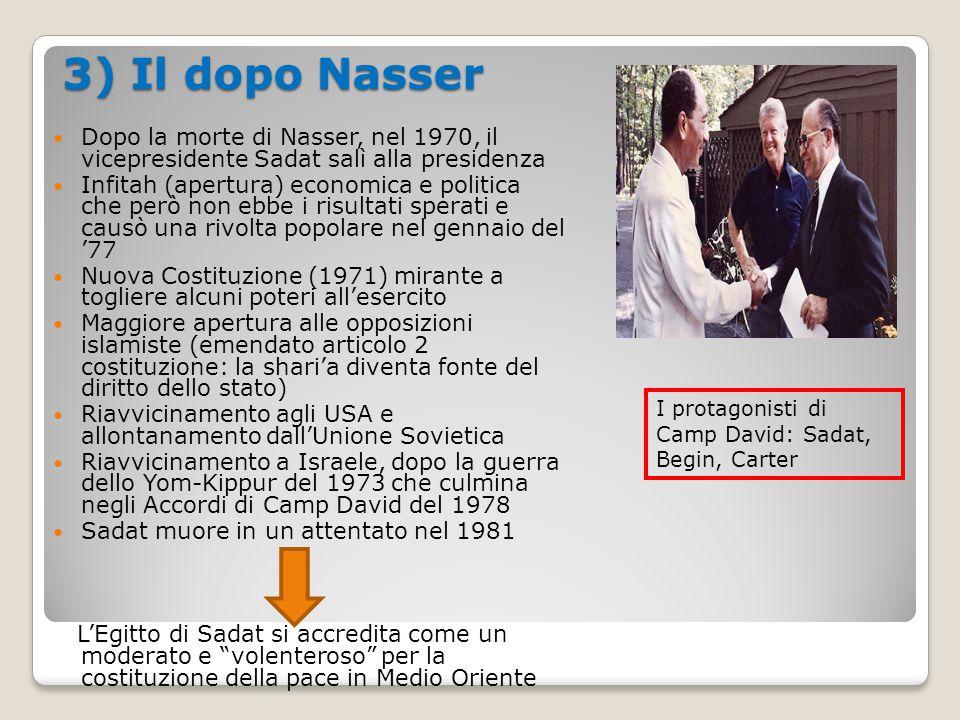 3) Il dopo Nasser Dopo la morte di Nasser, nel 1970, il vicepresidente Sadat salì alla presidenza.